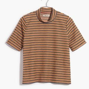 Madewell Stripe Mock Neck Tee